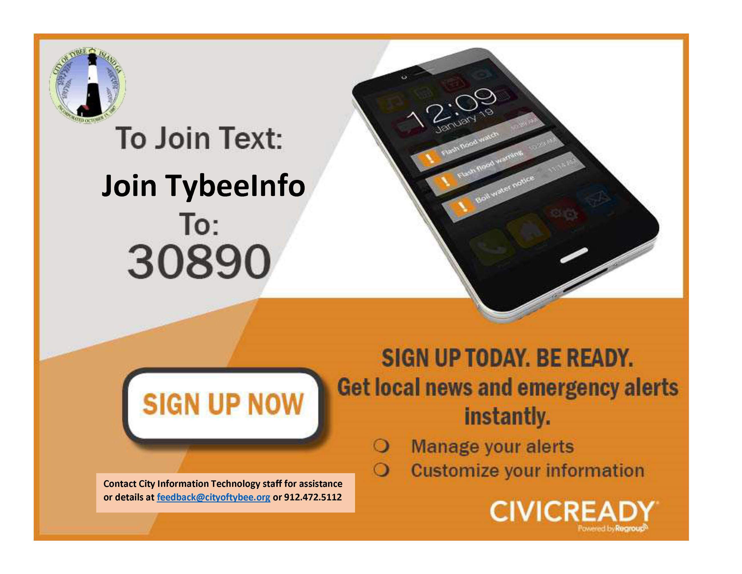 "Text ""JOIN TYBEEINFO"" to 30890"